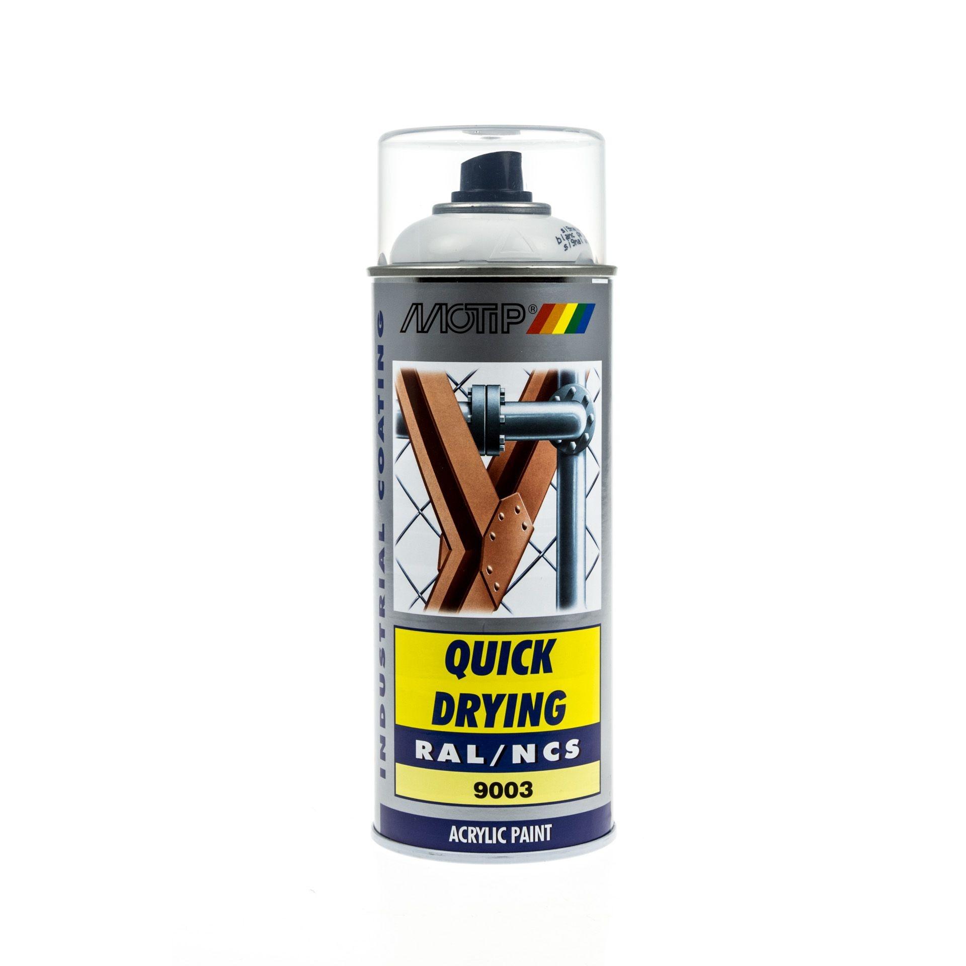 Bombe de peinture MoTip blanc de sécurité brillant acrylique RAL 9003 400 ml M07042