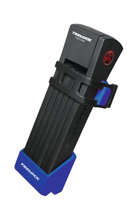 Antivol pliable Trelock TWO.GO FS200/75 avec support Bleu