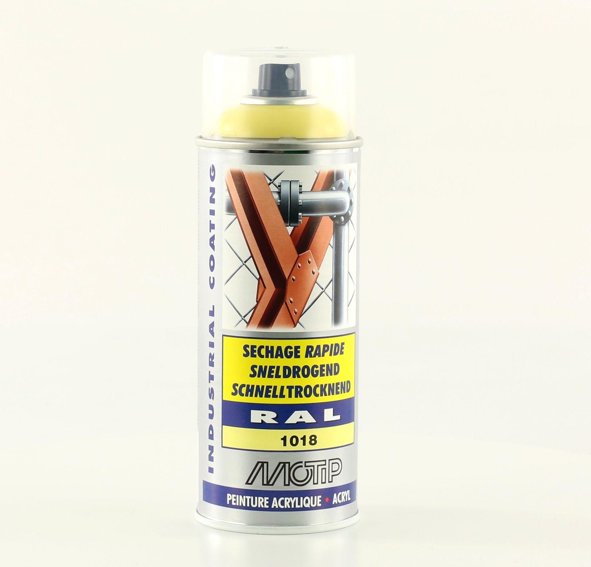Bombe de peinture jaune zinc brillant acrylique RAL 1018 400 ml M07063