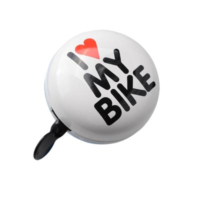 Sonnette Ding Dong I Love My Bike Blanc