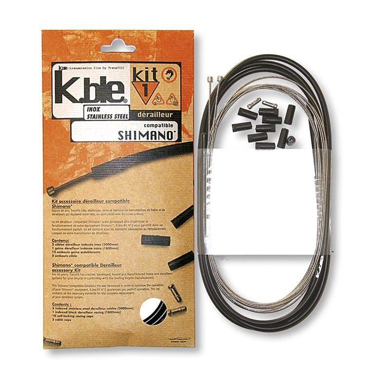 Kit câbles et gaine de dérailleur Transfil K.ble inox comp. Shimano/SRAM Noir