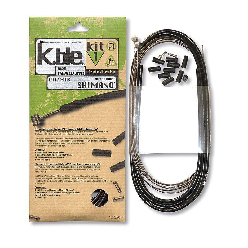 Kit câbles et gaine de frein Transfil K.ble VTT/VTC inox comp. Shimano Noir