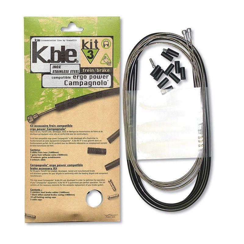 Kit câbles et gaine de frein Transfil K.ble inox comp. Campagnolo Ergo Power Noir