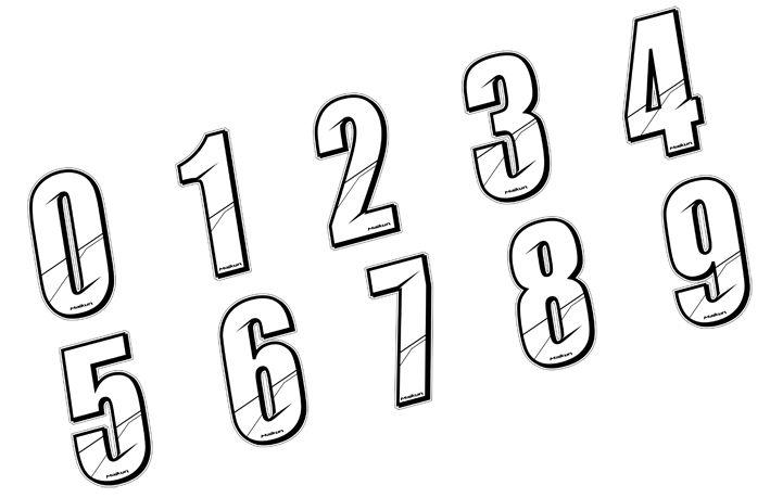 Sticker Maikun Numéro de plaque Blanc 8 cm Numéro 0