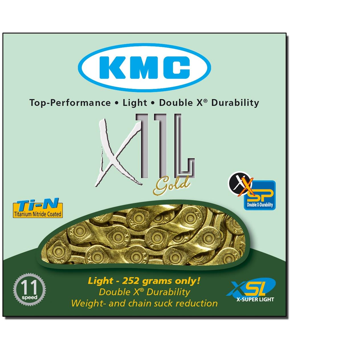 Chaîne vélo KMC 11 Vitesses X11L Couleur Or