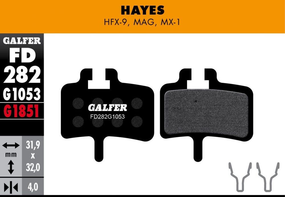 Plaquettes de frein Galfer Hayes HFX Semi-métallique Standard Noir