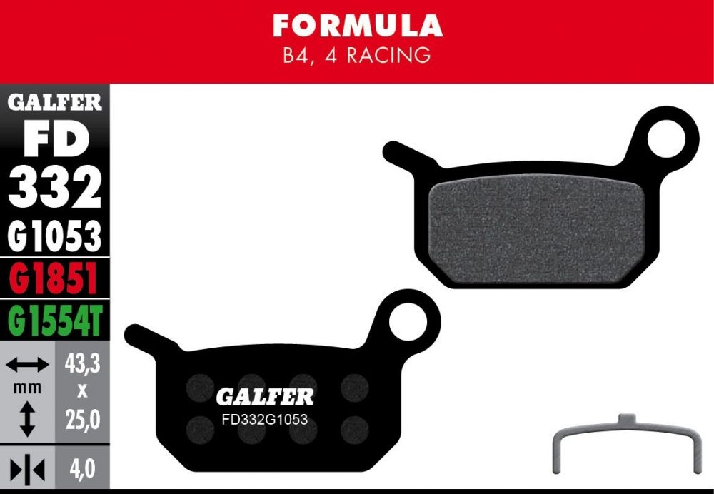 Plaquettes de frein Galfer Formula B4 Semi-métallique Standard Noir