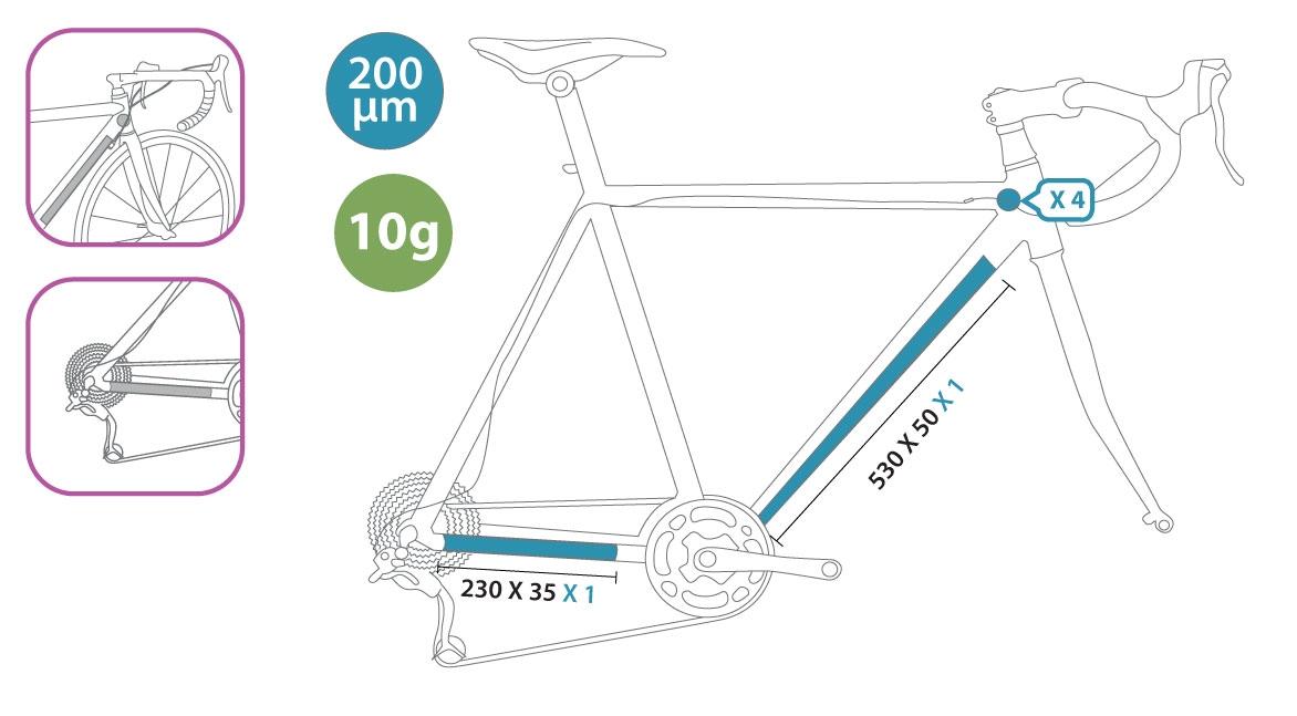 Protection de cadre invisible ClearProtect pour vélo PACK S Brillant