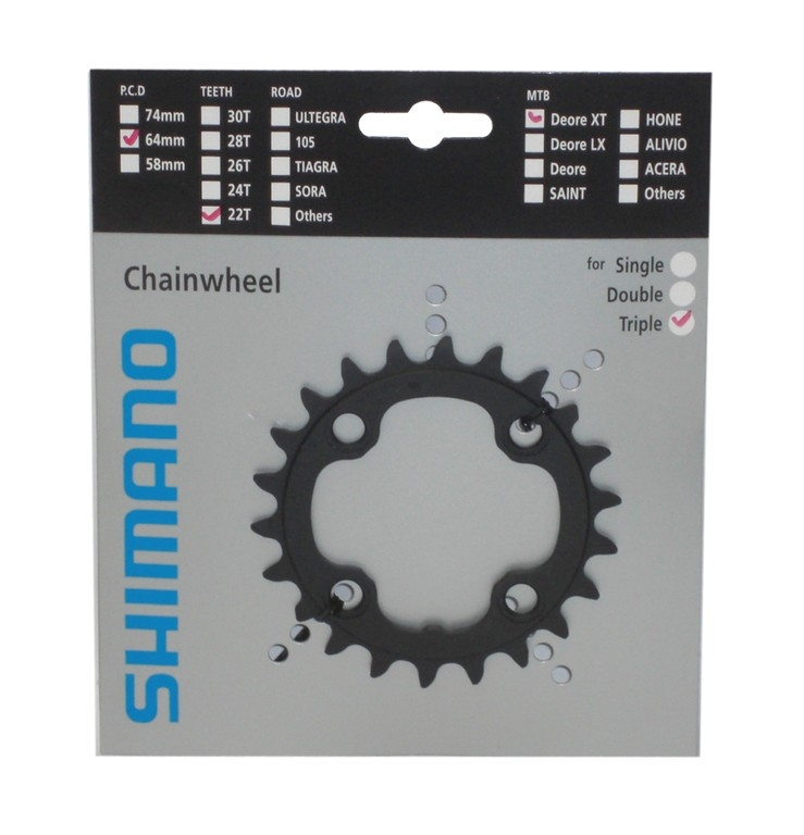 Plateau Shimano XT 22 dents 9V 4x64 mm noir