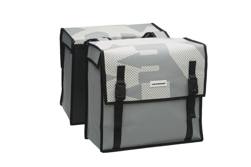 Sacoche double New Looxs Bisonyl À pont sur porte-bagages 46 L Blanc/Gris