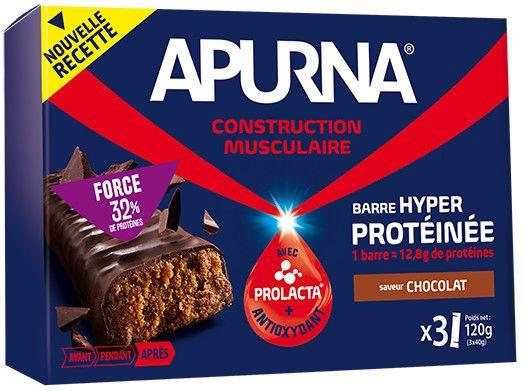 Barre hyperprotéinée Apurna Chocolat Étui 3x40 g