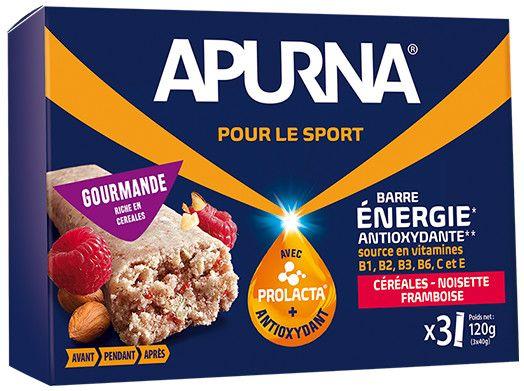 Barre énergie Apurna Noisette/Framboise Étui 3x40 g