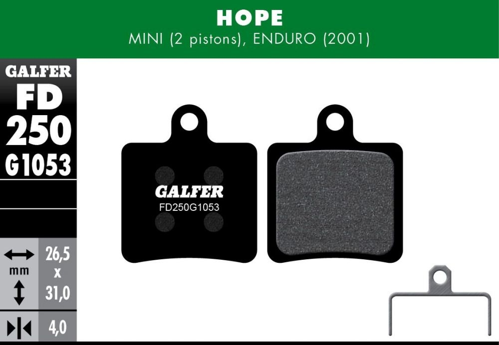 Plaquettes de frein Galfer Hope Mini 2 Semi-métallique Standard Noir