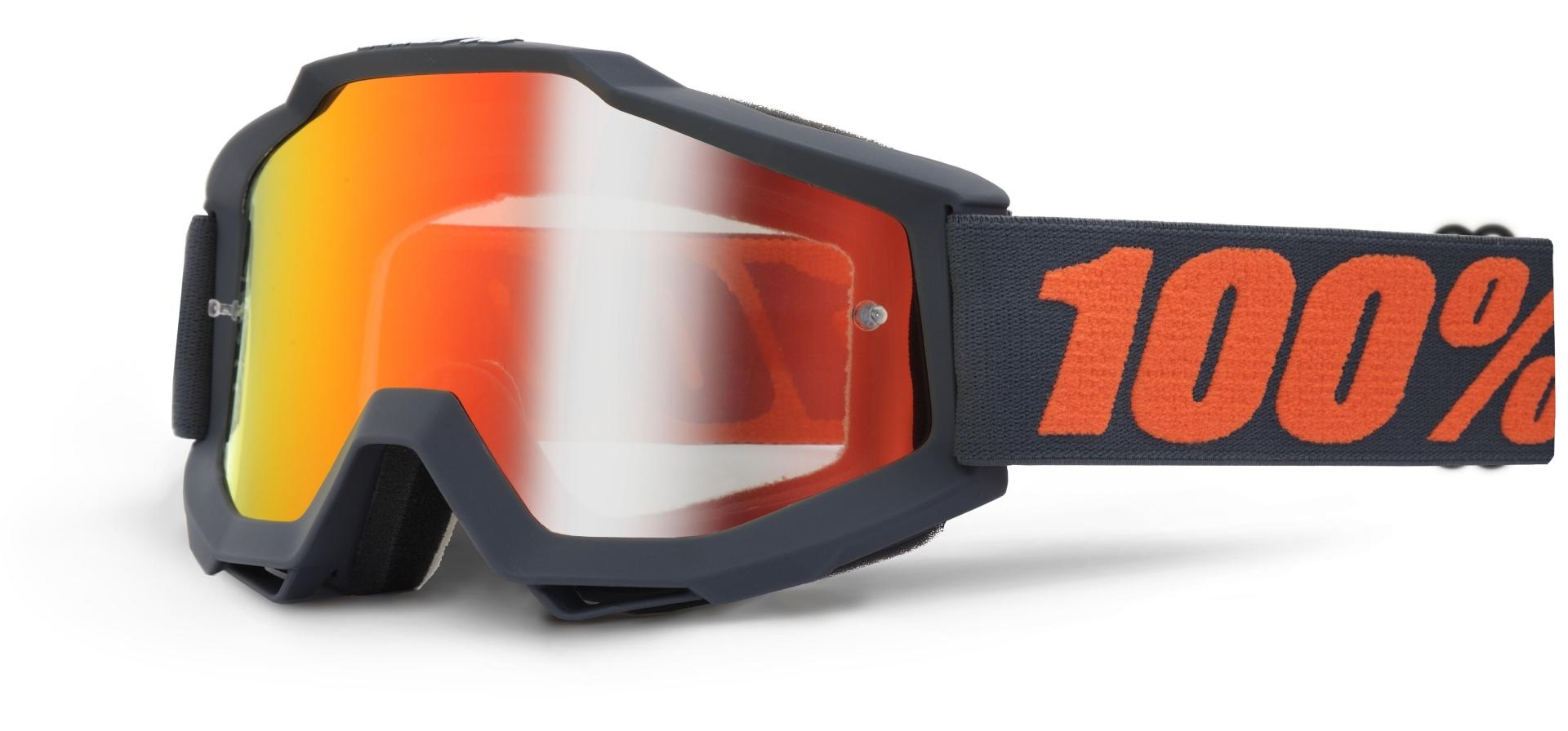Masque 100% Accuri Gun Metal écran miroir rouge (Anthracite/Orange)