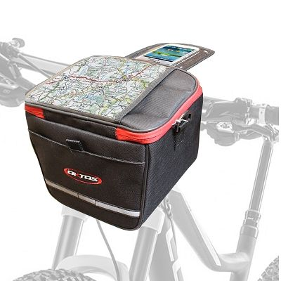 Sacoche avant Oktos 6 L + housse smartphone Noir/Rouge