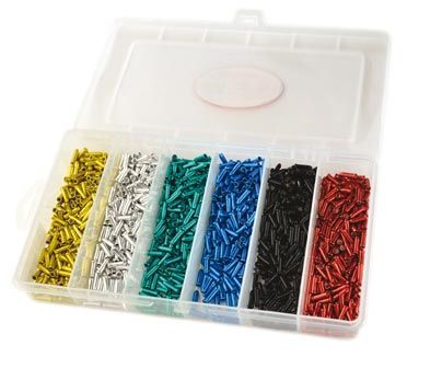 Embouts de câble 2,3 mm assort. Argent/Rouge/Bleu/Noir/Or/Vert (x1200)