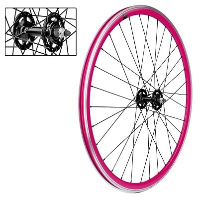 Roue avant fixie VELOX 700c Alu 30 mm Rose