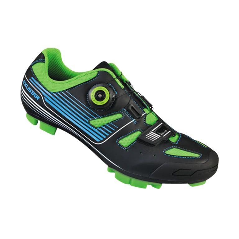 Chaussures VTT Exustar Comp E-SM3136 Noir/Vert/Bleu - 42