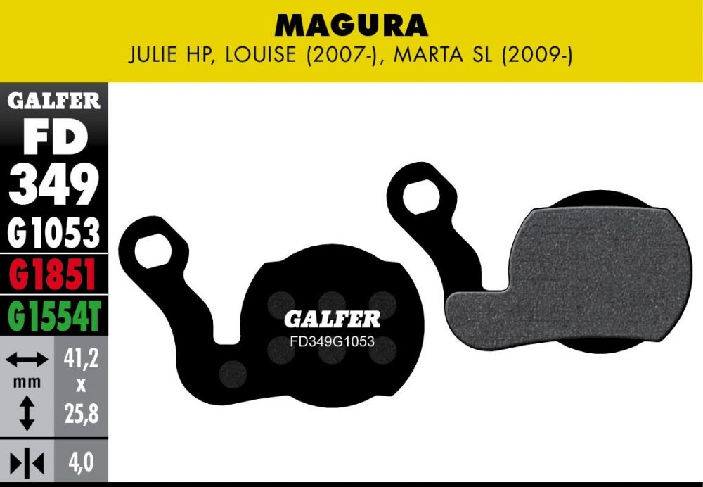 Plaquettes de frein Galfer Magura Julie Louise Marta SL Semi-métallique Standard Noir