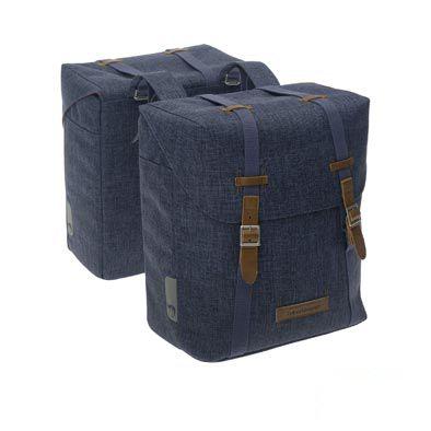 Sacoche double New Looxs Mondi à pont sur porte-bagages comp. Racktime 25 L Bleu