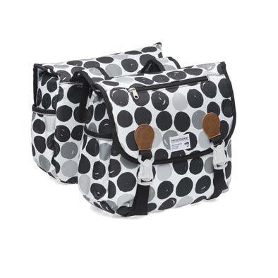 Sacoche double New Looxs Joli à pont sur porte-bagages 34 L Noir à pois
