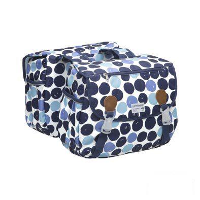 Sacoche double New Looxs Joli à pont sur porte-bagages 34 L Bleu à pois