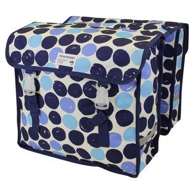 Sacoche double New Looxs Fiori À Pont sur porte-bagages 30 L Bleu à pois