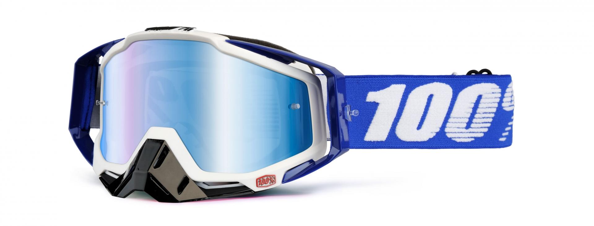 Masque 100% Racecraft Cobalt Blue écran miroir bleu (Blanc/Bleu)