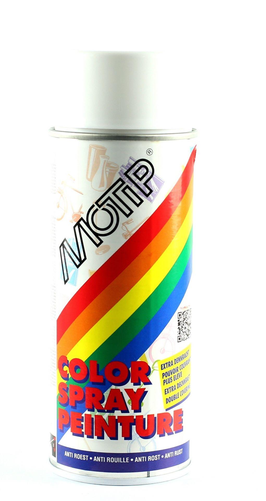 Bombe de peinture MoTip blanc trafic brillant RAL 9016 400 ml M01627