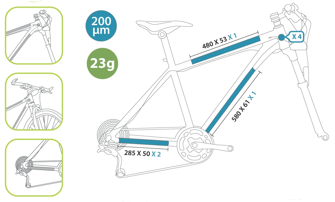 Protection de cadre invisible ClearProtect pour vélo PACK M Brillant
