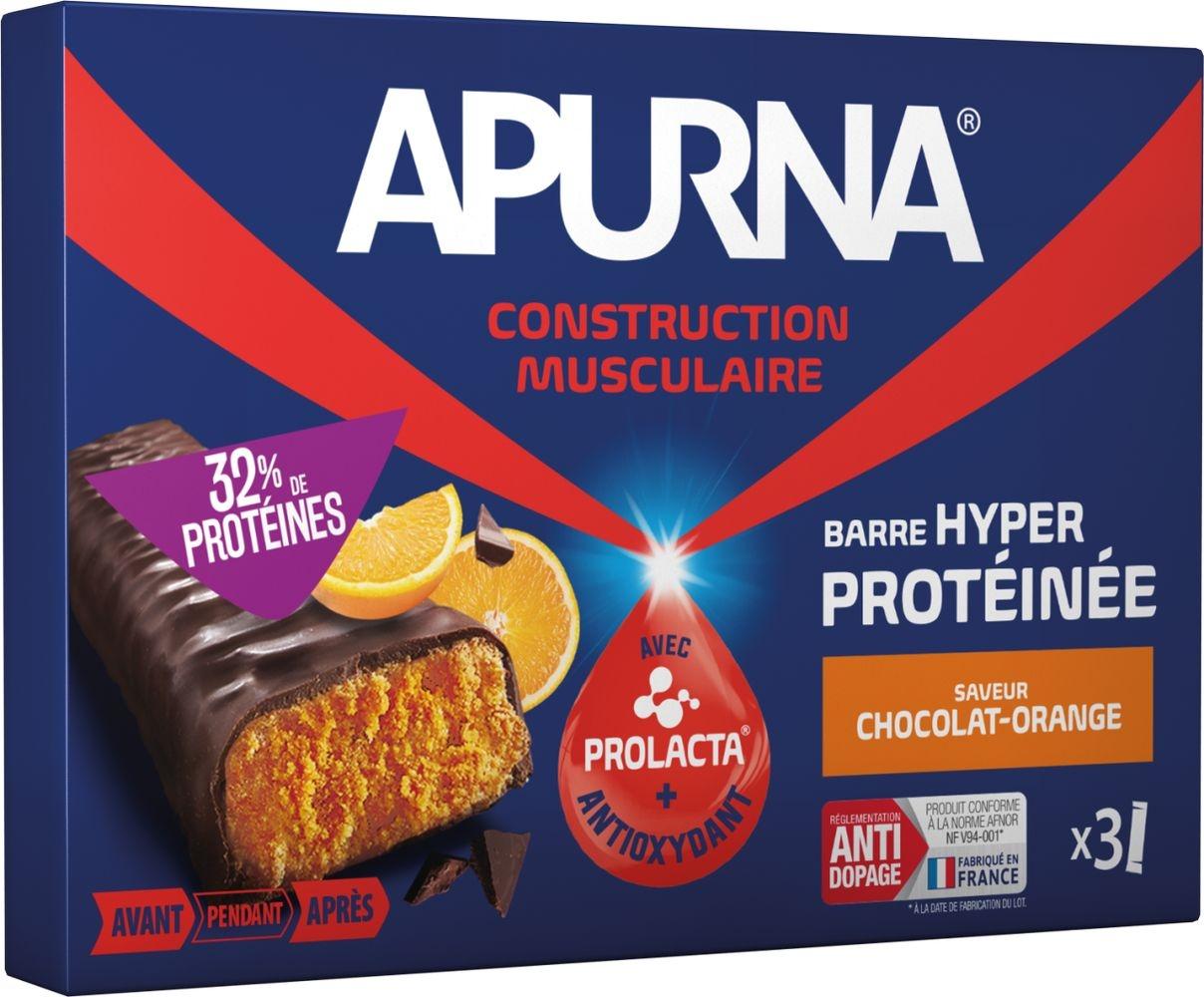 Barre hyperprotéinée Apurna Chocolat Orange Étui 3x40 g