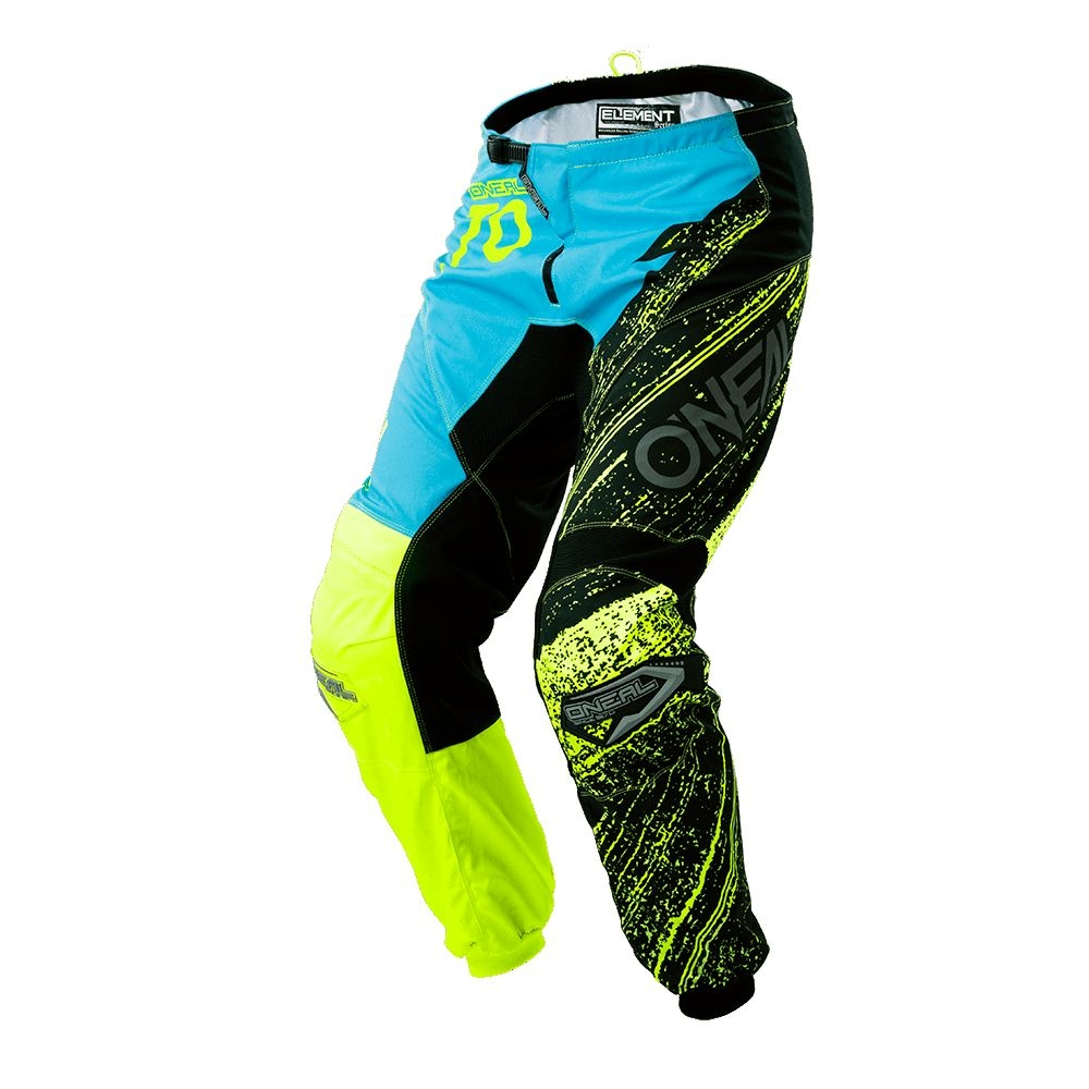 Pantalon O'Neal Element Burnout Hi-viz Noir/Bleu/Jaune - 32