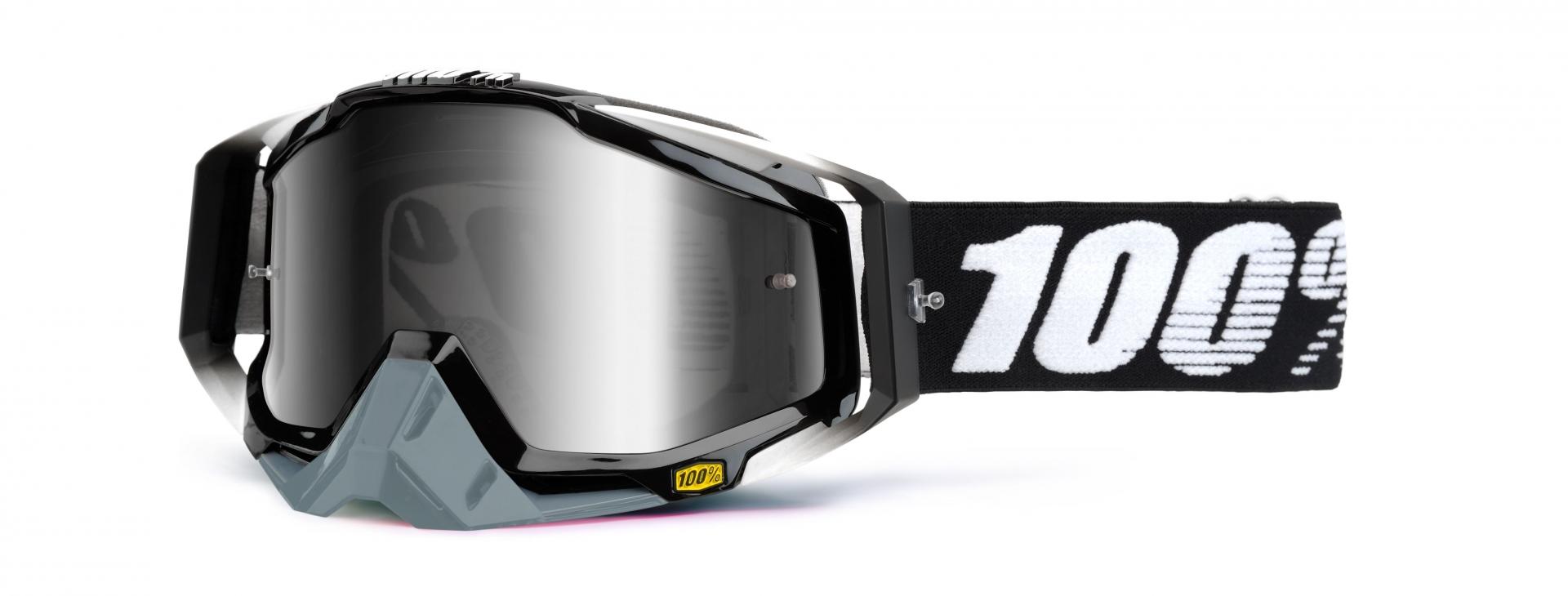 Masque 100% Racecraft Abyss Black écran miroir argent (Noir/Gris)