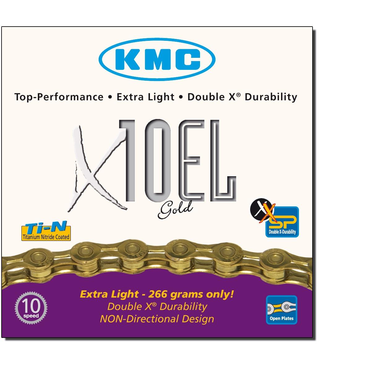 Chaîne vélo KMC 10 Vitesses X10-EL Ti Or