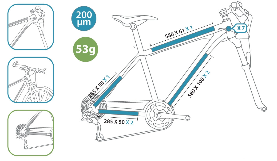 Protection de cadre invisible ClearProtect pour vélo PACK XL Mat