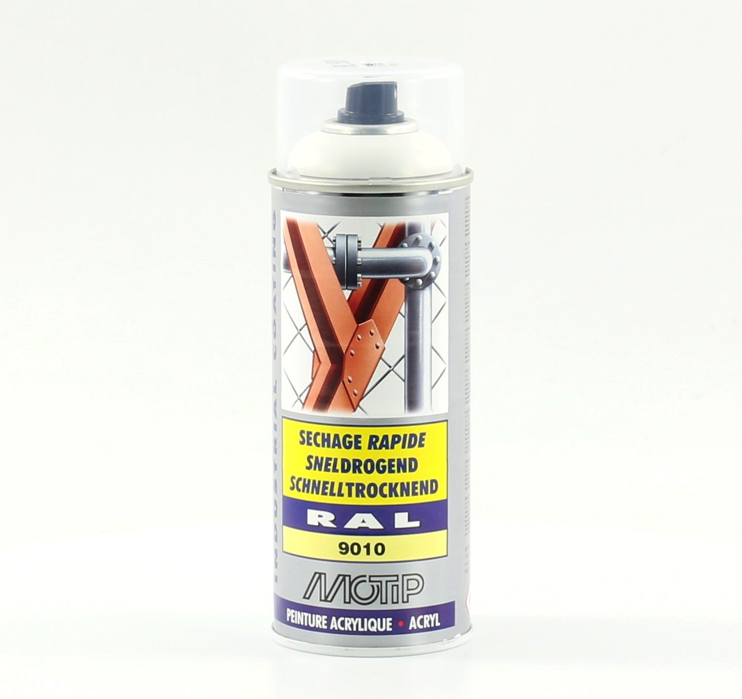 Bombe de peinture MoTip blanc pur brillant acrylique RAL 9010 400 ml M07040