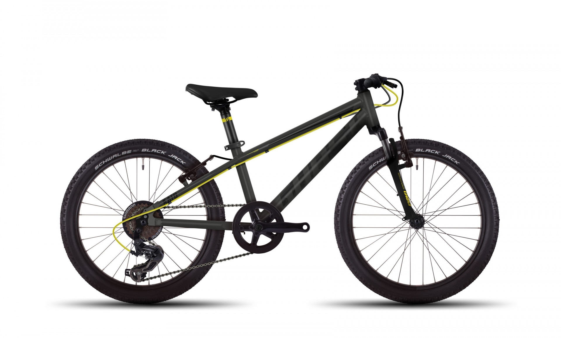 VTT semi-rigide Ghost Kato Kid 2 20 titane/jaune