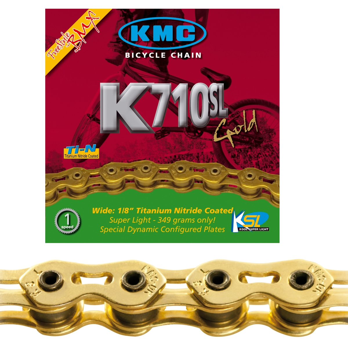 Chaîne vélo KMC BMX K710 Sl Ti-N Or Kool Series 100 maillons