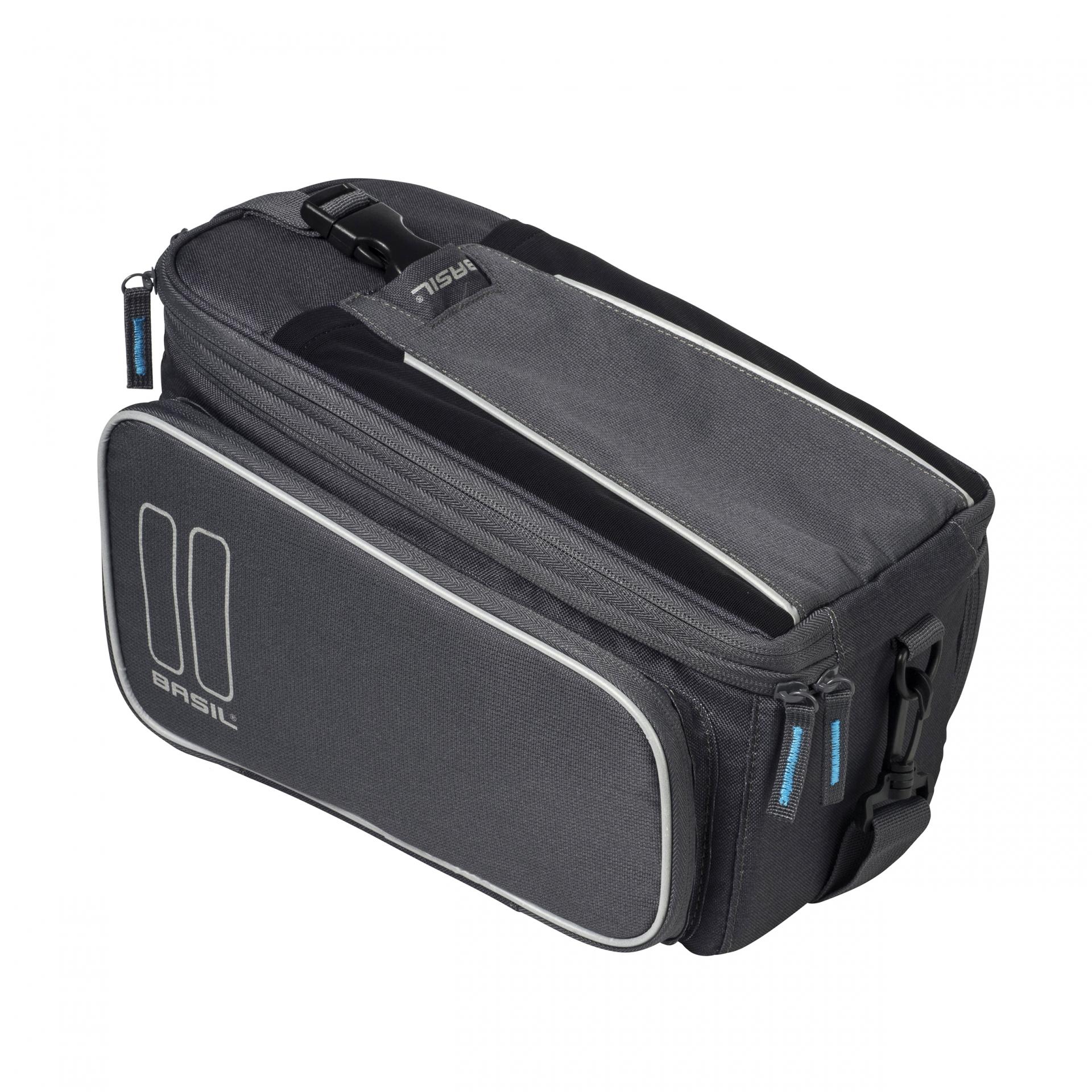 Sacoche arrière BASIL Trunkbag avec soufflet étanche Fix. porte-bagages Gris