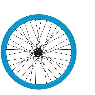 Roues fixie 700c double parois 43 mm (paire) Bleu clair