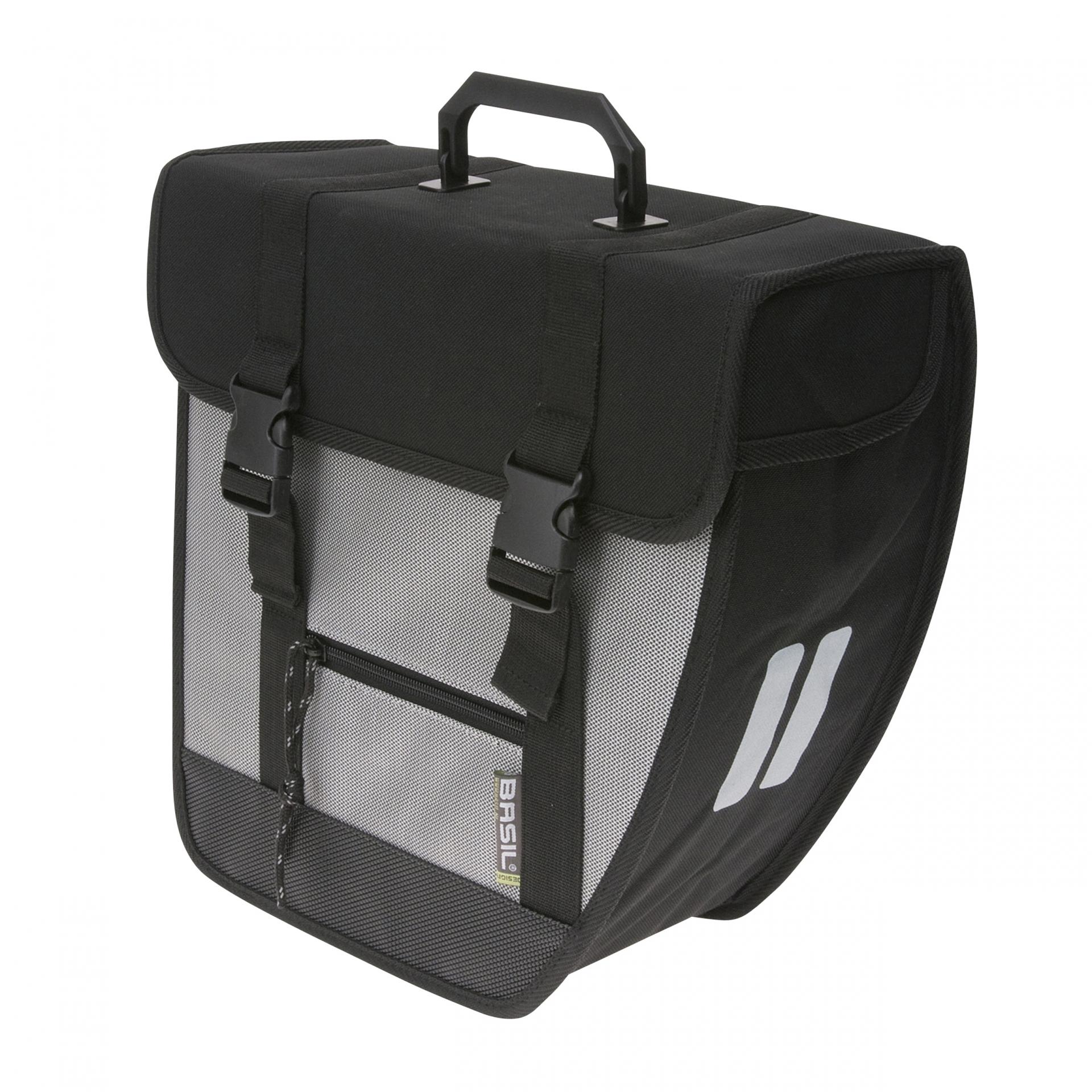 Sacoche arrière latérale BASIL Tour droit Fix. crochet plastique 17 L Noir/Argent