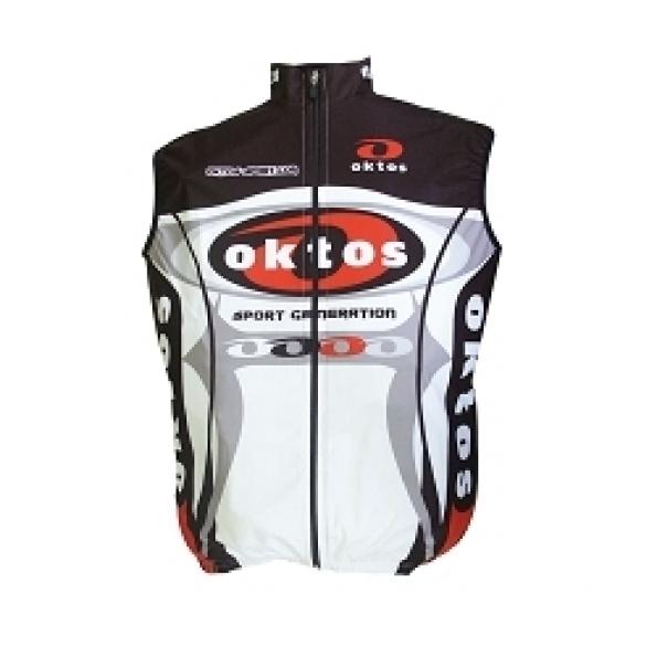 Gilet sans manche Oktos Wintex coupe-vent Noir/Rouge/Blanc S