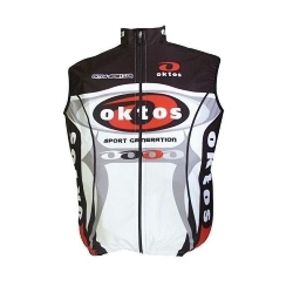Gilet sans manche Oktos Wintex coupe-vent Noir/Rouge/Blanc L