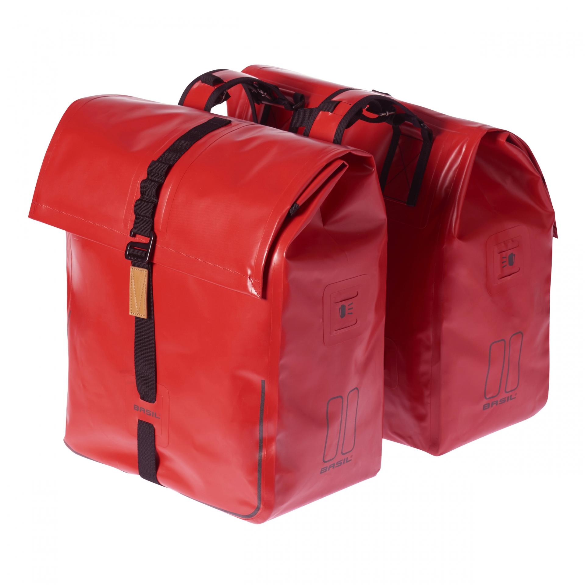 Sacoche arrière double BASIL Urban Dry 100 % Étanche 48 L Rouge