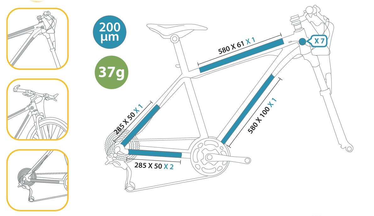 Protection de cadre invisible ClearProtect pour vélo PACK L Mat