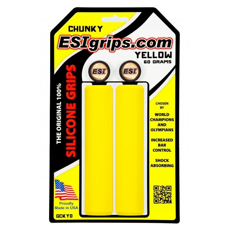 Poignées ESI Grips Chunky silicone 32 mm Jaune