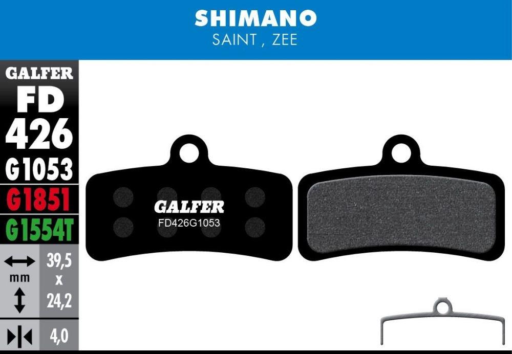 Plaquettes de frein Galfer Shimano Saint / Zee Semi-métallique Advanced Rouge