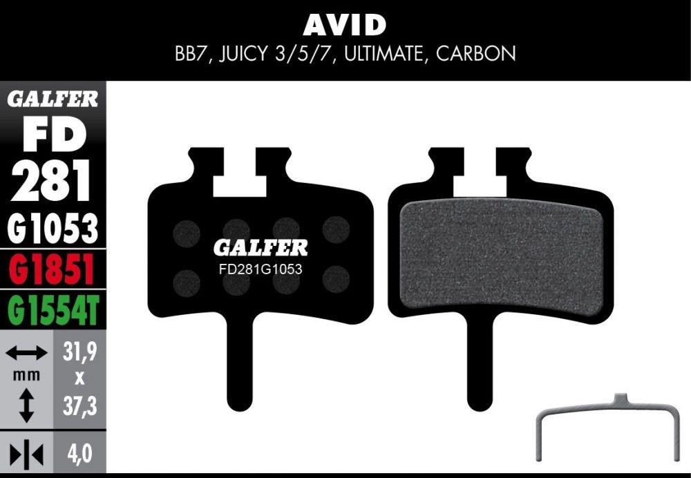 Box atelier Galfer 60 plaquettes Avid Juicy Semi-métallique Standard Noir