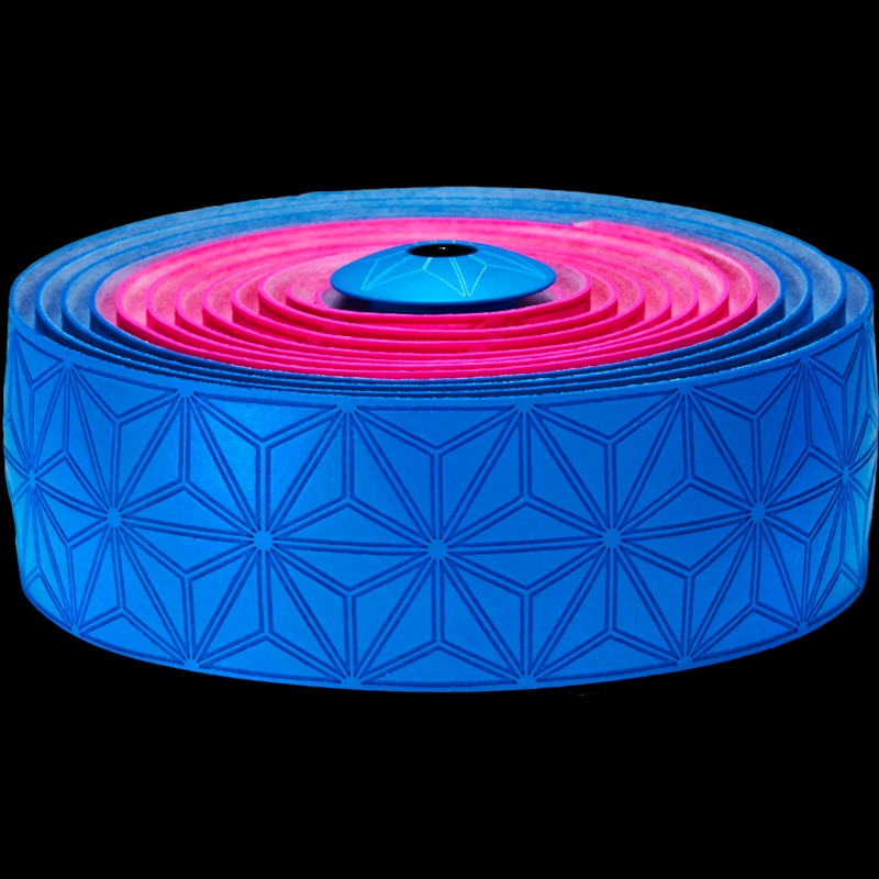 Ruban de cintre Supacaz Super Sticky Kush Tape Rose Fluo/Bleu Fluo