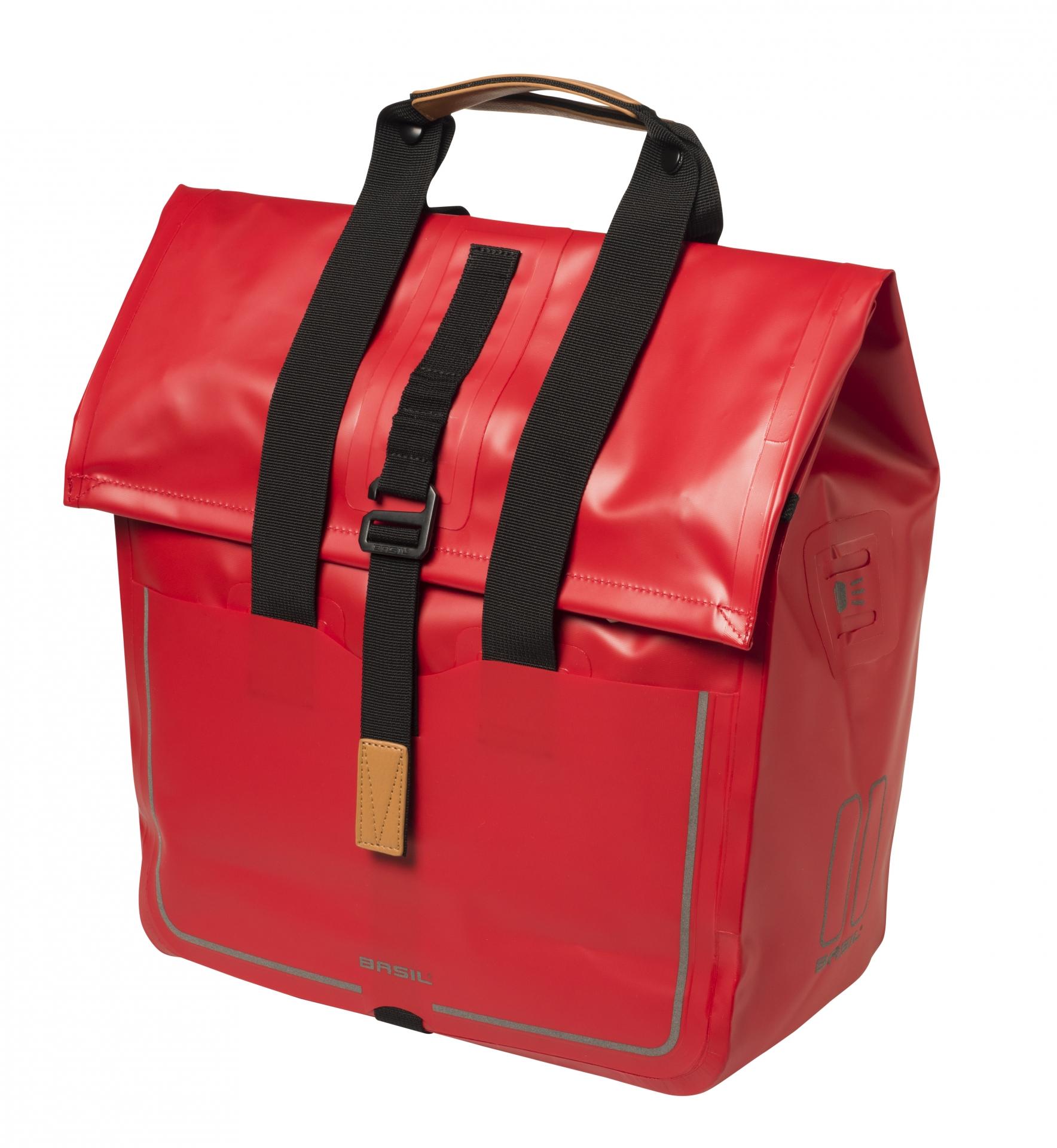 Sacoche arrière latérale BASIL Urban Dry Shopper Étanche 20 L Rouge